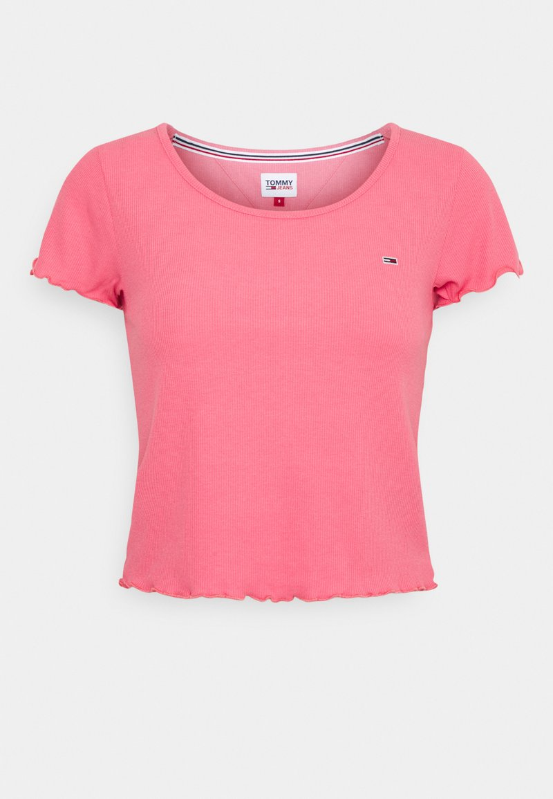 Tommy Jeans - SKINNY CROP TEE - Triko spotiskem - botanical pink
