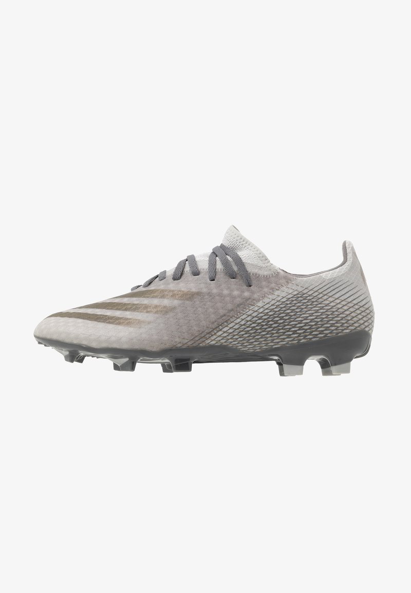 adidas Performance - X GHOSTED.3 FOOTBALL BOOTS FIRM GROUND - Moulded stud football boots - footwear white/metallic gold melange/silver metallic