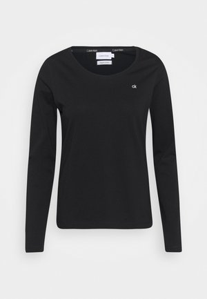 SCOOP NECK - Long sleeved top - black