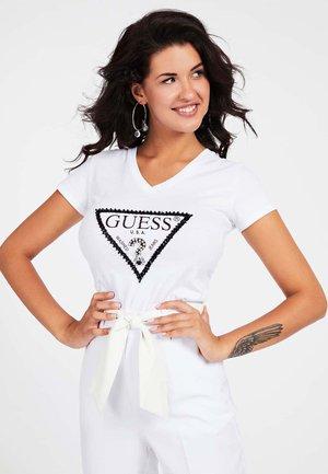 LOGO TRIANGULAIRE STRASS - T-shirt print - blanc