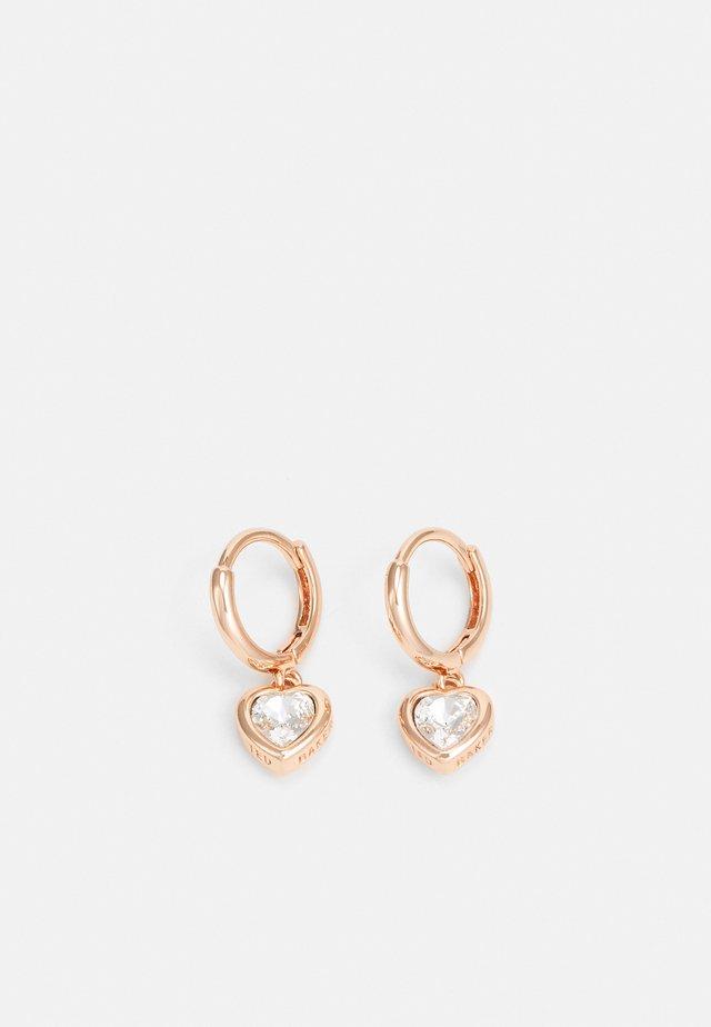 HANNIY HEART HUGGIE EARRING - Orecchini - rose gold-coloured/crystal