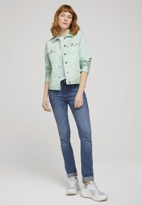 TOM TAILOR - MIT KNITTERDETAILS - Denim jacket - minty green - 1