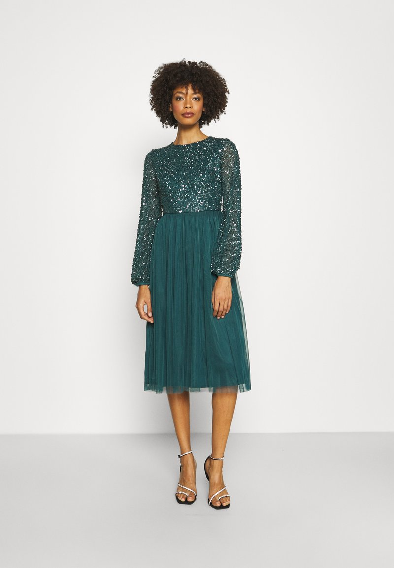Maya Deluxe - CUT OUT BACK DELICATE MIDI DRESS - Cocktail dress / Party dress - deep teal