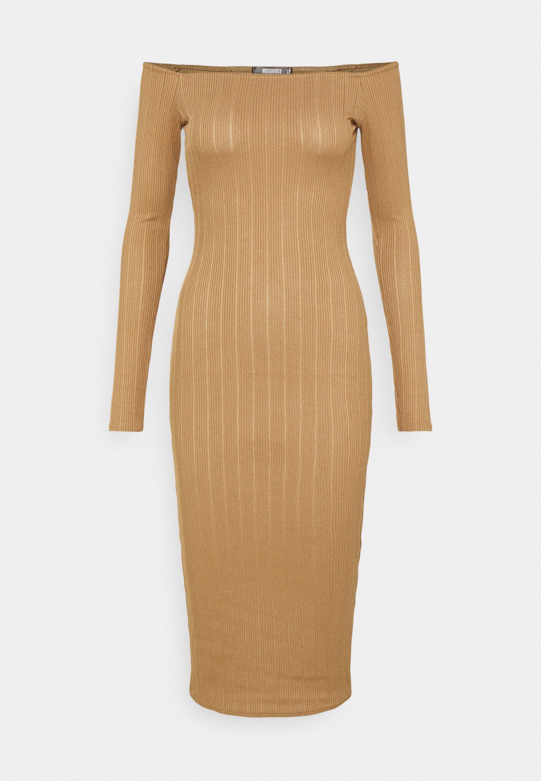 Women TEXTURE BARDOT BODYCON MIDI DRESS - Jumper dress