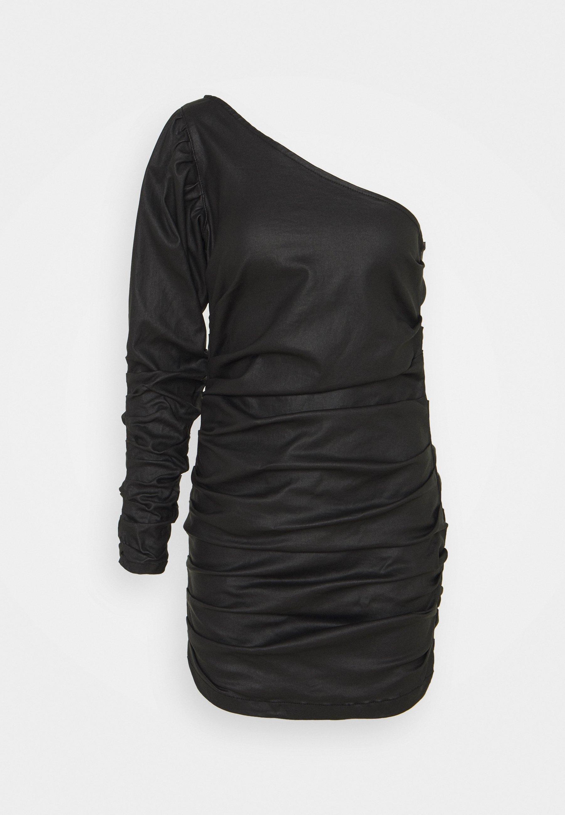 Women ONE SHOULDER RUCHED COATED MINI DRESS - Shift dress