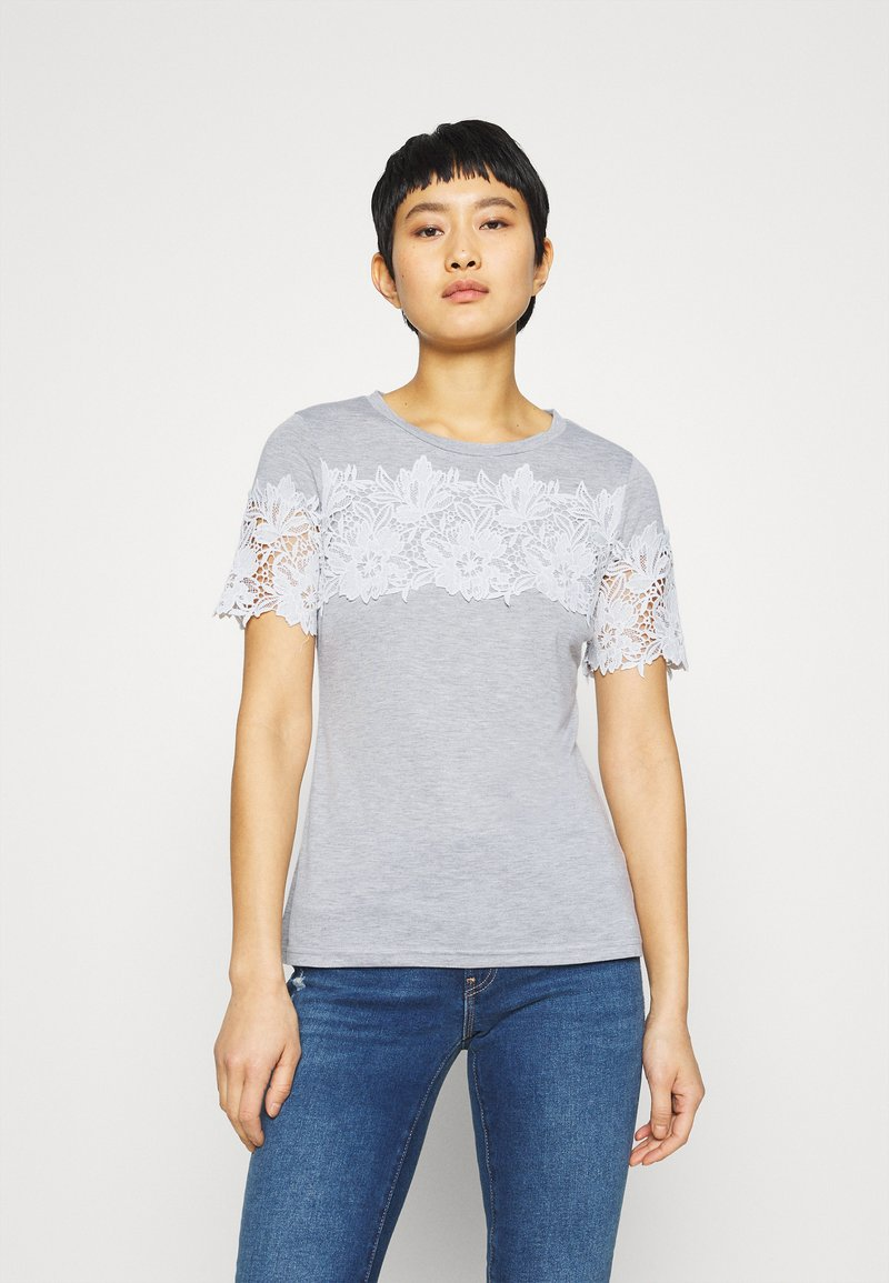 Dorothy Perkins - INSERT TRIM TEE - Print T-shirt - grey