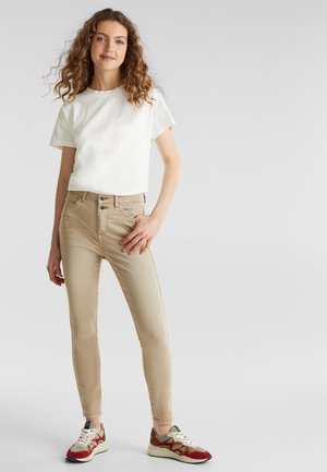 KNÖCHELLANGE STRETCH-PANTS - Jeans Skinny Fit - khaki beige