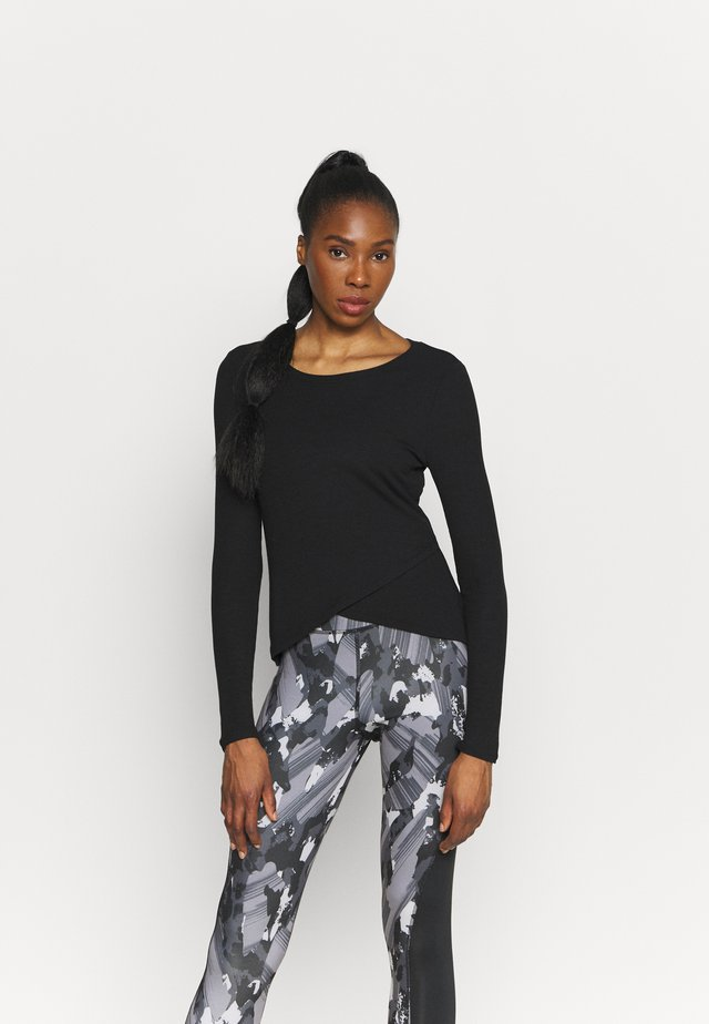 WRAP FRONT - Long sleeved top - true black
