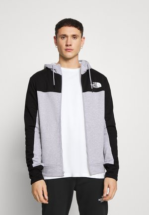 FULL ZIP HOODIE - Sweatjacke - light grey heather/black