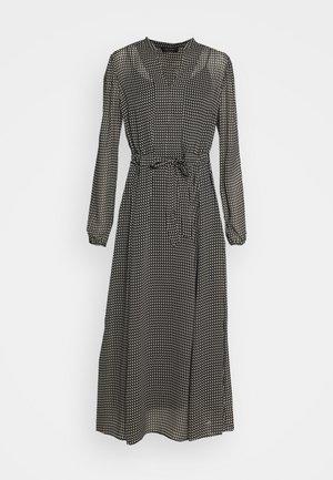 DRESS LONG STYLE BELTED WAIST DETAILED NECKLINE - Vestido informal - black
