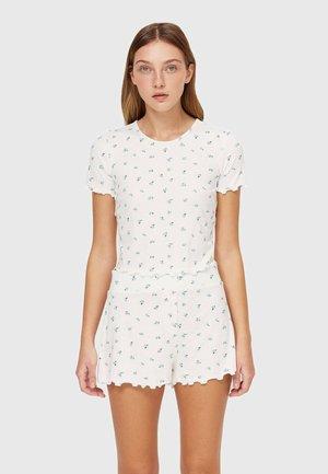 WITH LETTUCE-EDGE TRIMS - T-shirt z nadrukiem - white