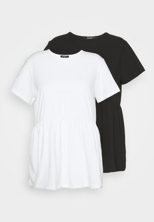 SMOCK 2 PACK - Basic T-shirt - white/black