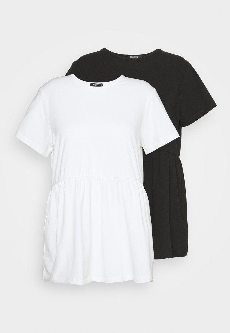 Missguided Plus - SMOCK 2 PACK - Basic T-shirt - white/black