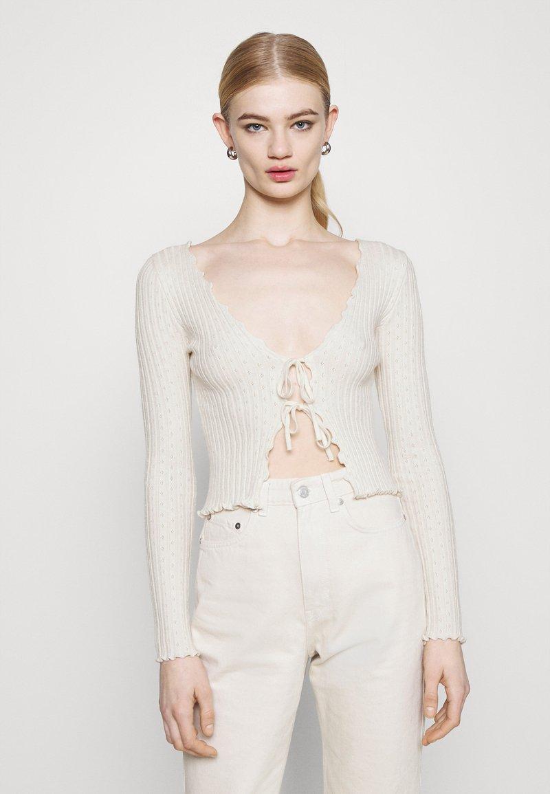 BDG Urban Outfitters - NOORI TIE FRONT - Cardigan - cream