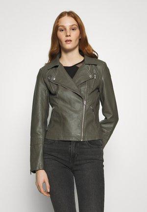 ONLGEMMA BIKER - Faux leather jacket - gunmetal