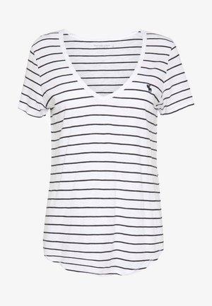 VNECK  - Print T-shirt - white/black
