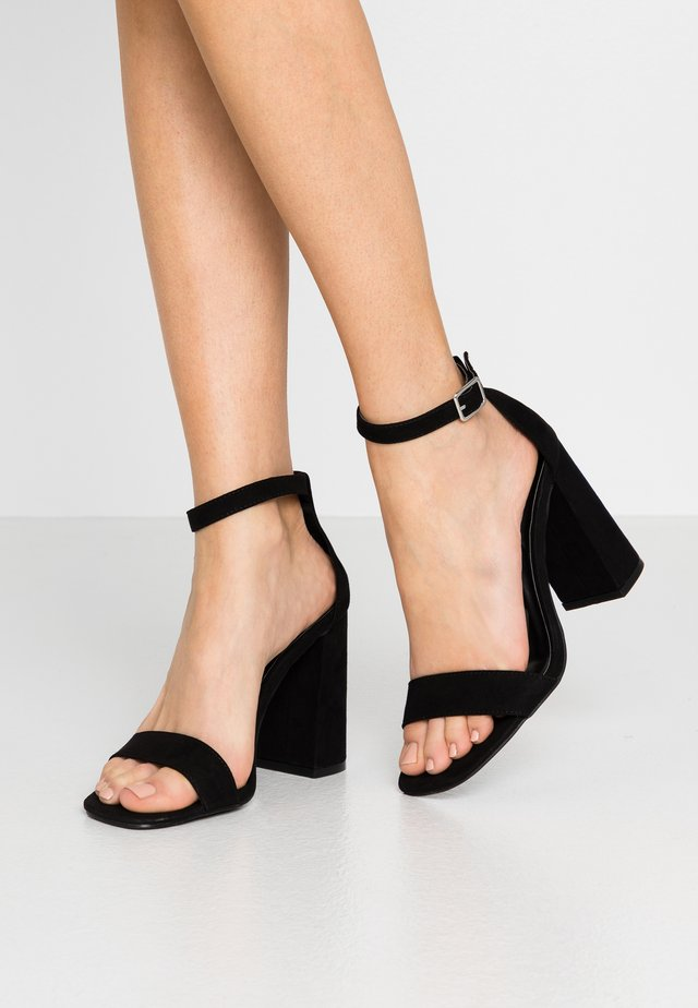 WIDE FIT STEFFI SQAURE TOE BLOCK - High heeled sandals - black