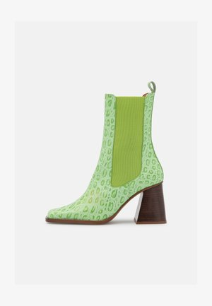 High heeled ankle boots - green