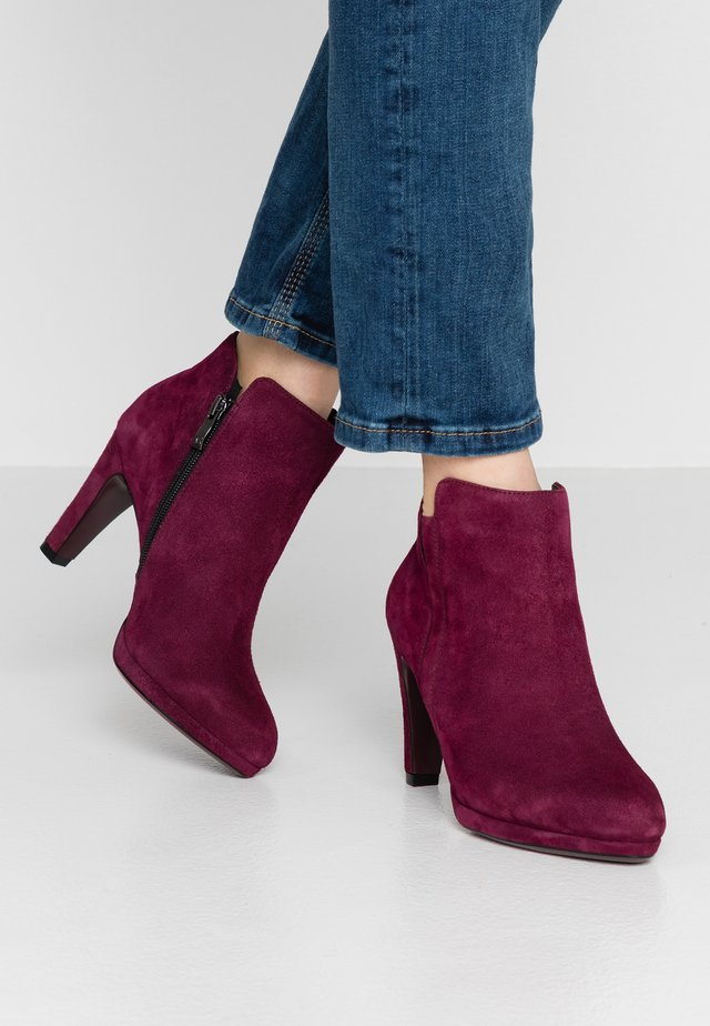 High heeled ankle boots - bordeaux