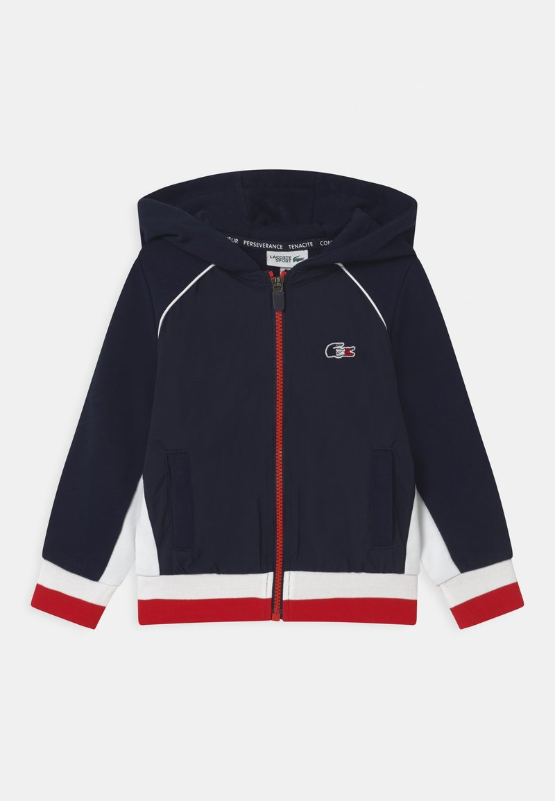 Lacoste Sport - OLYMP TRACK UNISEX - Zip-up hoodie - navy blue/white/red