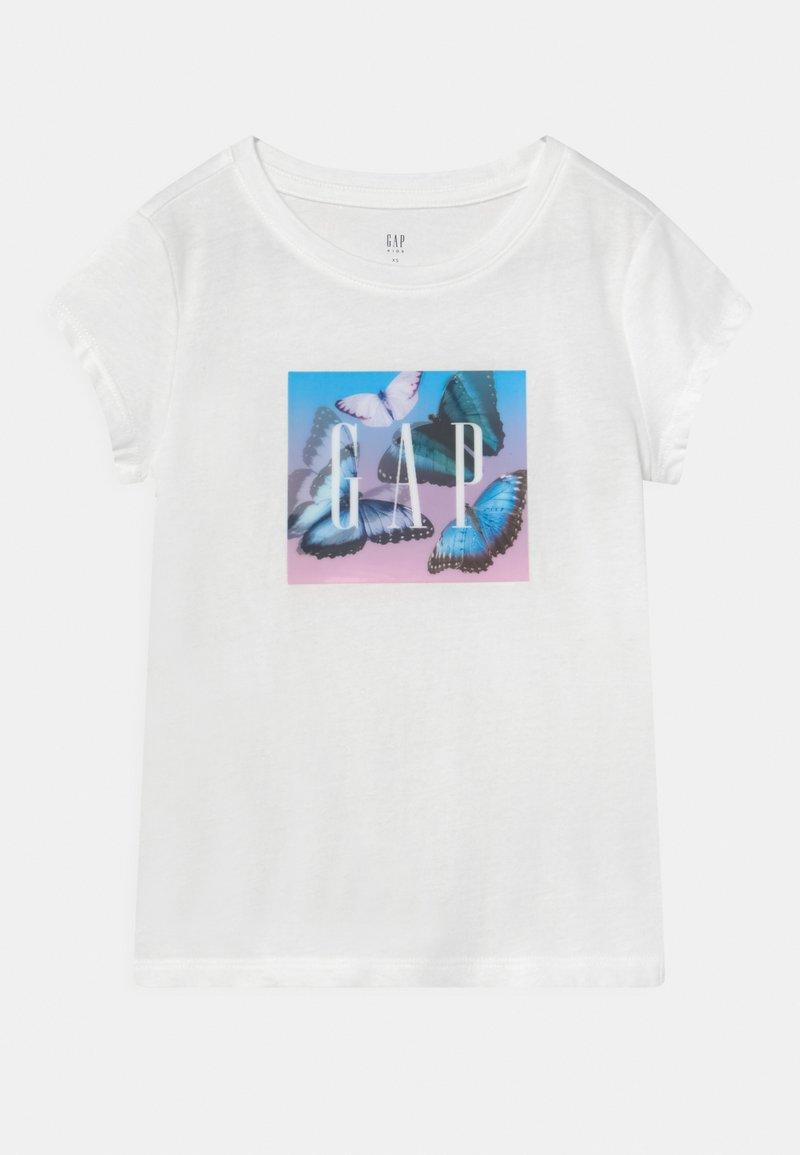 GAP - GIRL LENTICULAR LOGO THOLOGRAPHIC - Print T-shirt - new off white