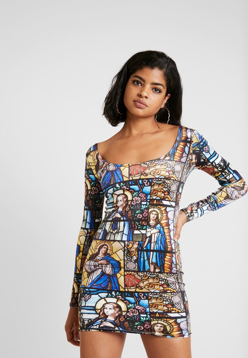 NEW girl ORDER - HOLY PRINT BODYCON DRESS - Pouzdrové šaty - multi