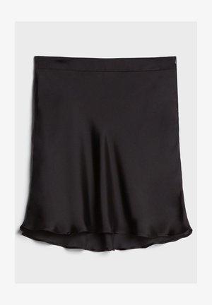 SATIN - A-line skirt - black