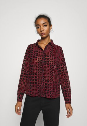 NMJEAN HOUNDSTOOTH SHIRT - Button-down blouse - black/red