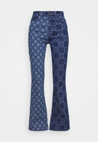 Jaded London - FLOWER DISCHARGE PRINT WITH HEART BUTTON - Bootcut jeans - blue - 3