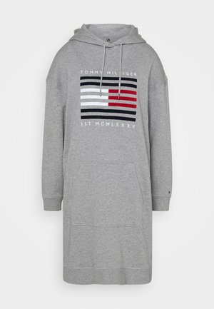 REGULAR FLAG HOODIE DRESS - Korte jurk - light grey heather