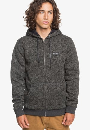 KELLER - SHERPA-FLEECE MIT REISSVERSCHLUSS UND KAPUZE - Zip-up hoodie - dark grey heather