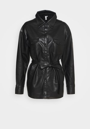 BELTED - Button-down blouse - black