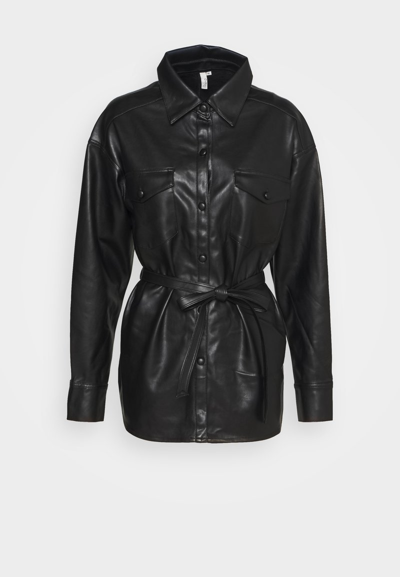 Nly by Nelly - BELTED - Button-down blouse - black