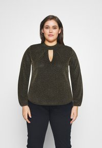 CAPSULE by Simply Be - GLITTER FASHION ESSENTIAL - Blouse - black/gold - 0