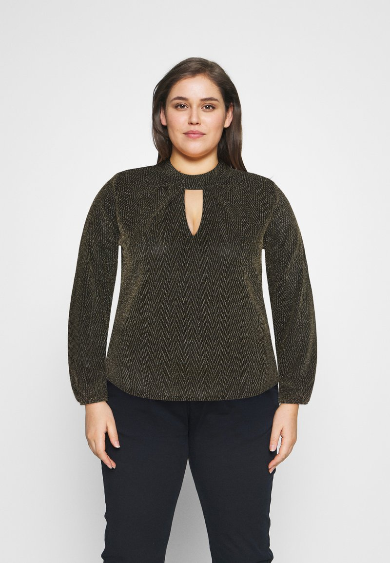 CAPSULE by Simply Be - GLITTER FASHION ESSENTIAL - Blouse - black/gold