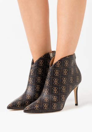 BRISTA - High heeled ankle boots - brown/ocra