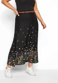 Yours Clothing - FLORAL BUTTERFLY  - Maxi skirt - black - 0