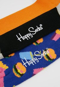 Happy Socks - HAMBURGER HALF STRIPE SOCK 2 PACK - Socks - black/multi-coloured - 2