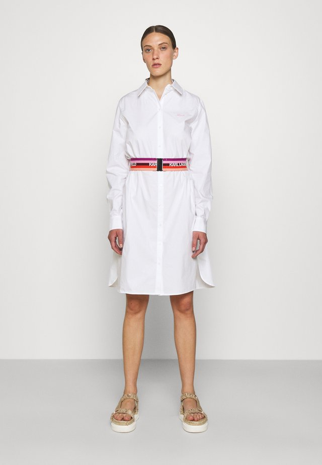 STRIPE SHIRT DRESS - Shirt dress - white