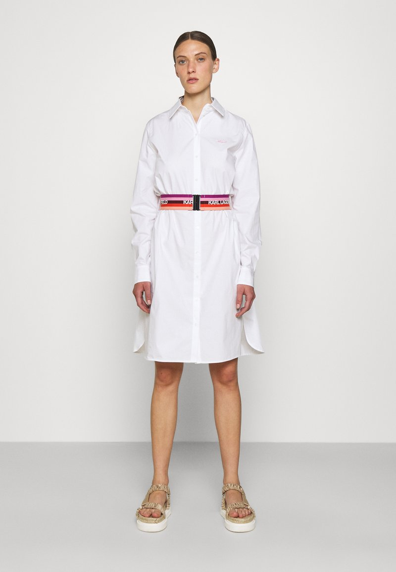 KARL LAGERFELD - STRIPE SHIRT DRESS - Shirt dress - white