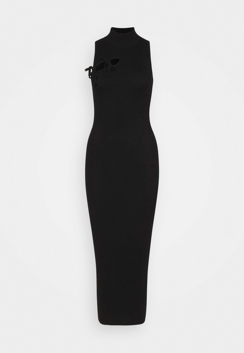 Missguided Tall - TIE FRONT HIGH NECK MIDAXI - Shift dress - black