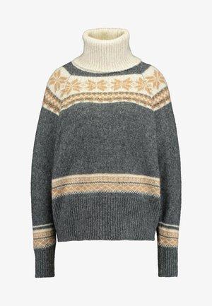 Stickad tröja - mid grey/cream/snow