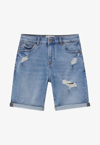 MIT ZIERRISSEN - Jeansshort - blue denim