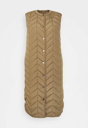 PCFAWN LONG QUILTED VEST - Waistcoat - otter
