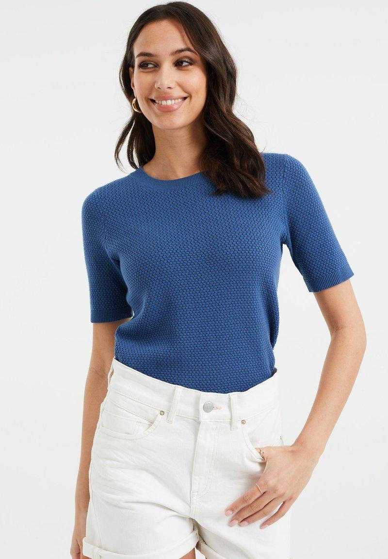 WE Fashion - MET STRUCTUUR - Basic T-shirt - navy blue