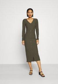 ONLY - ONLNELLA LONG BUTTON DRESS - Jersey dress - kalamata - 0