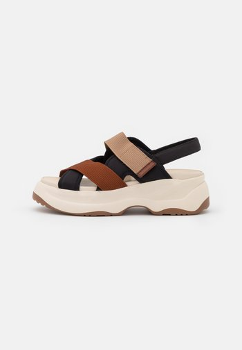 ESSY - Platform sandals - rust/multicolor