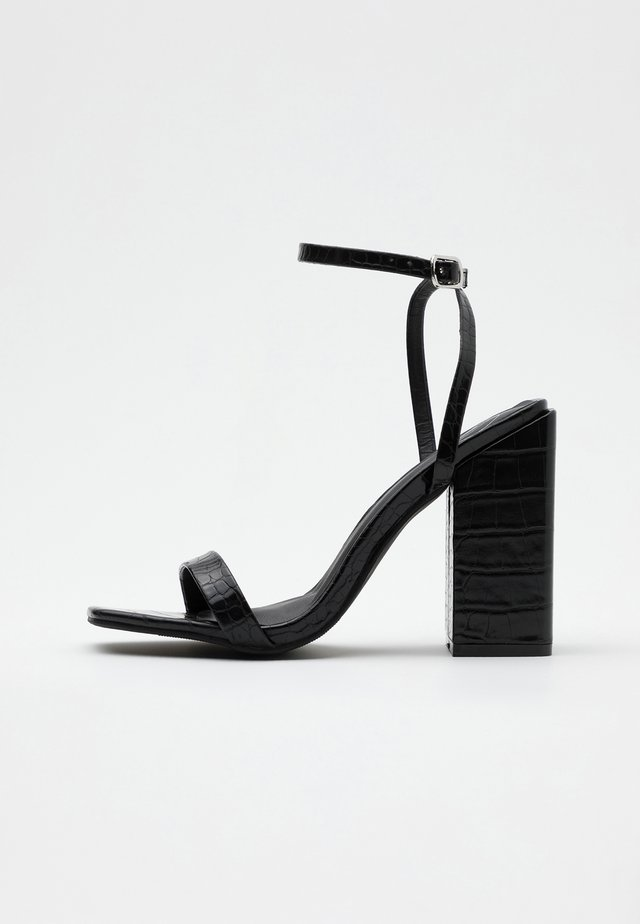 CHUNKY BLOCK BARELY - High heeled sandals - black