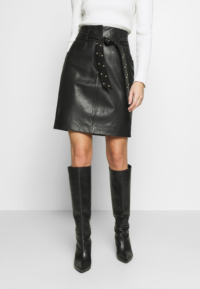 LAKRIMA - Leather skirt - black