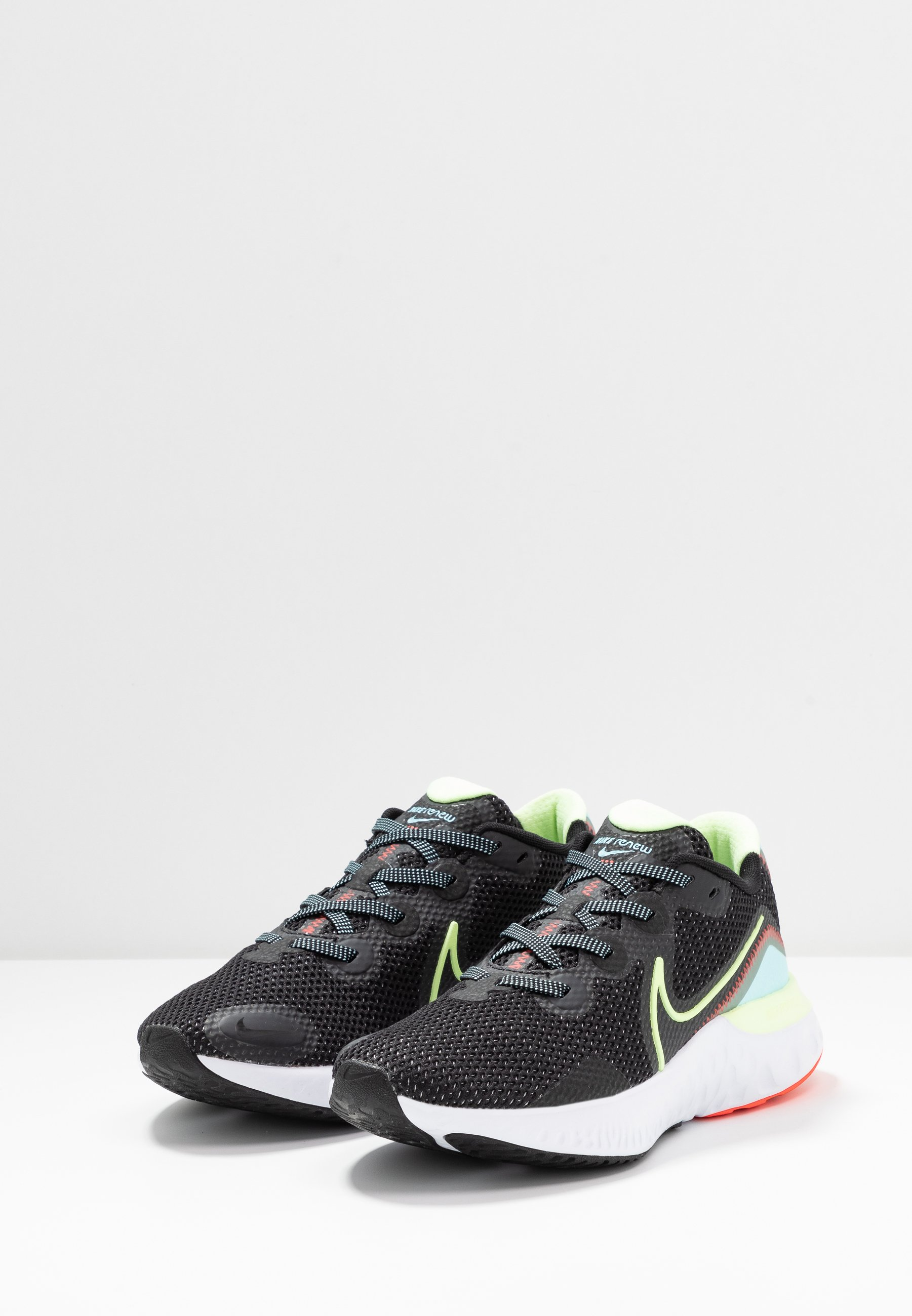 Nike Performance RENEW RUN Neutrala löparskor black/barely volt/glacier ice
